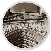 Toledo Cathedral Entrance In Sepia Round Beach Towel