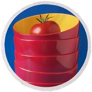 Tomato In Stacked Bowls Round Beach Towel
