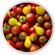 Tomatoes Background Round Beach Towel by Carlos Caetano