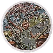 Tomboy In The Tree Round Beach Towel