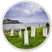 Tombstones Near Atlantic Coast In Newfoundland Round Beach Towel by Elena Elisseeva