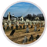 Tombstones Round Beach Towel