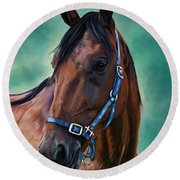 Tommy - Horse Painting Round Beach Towel