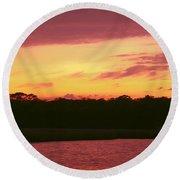 Tomoka River Sunset Round Beach Towel