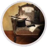 Top Hat And Cane On Sofa Round Beach Towel