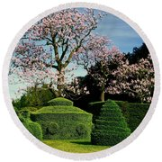 Topiary Garden In Spring Round Beach Towel