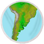 Topographic View Of South America Round Beach Towel