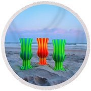 Topsail Hurricane Glasses Round Beach Towel