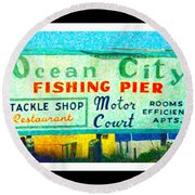Topsail Island Old Sign Round Beach Towel