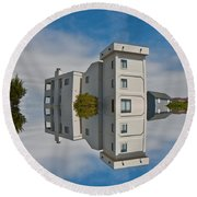 Topsail Island Tower Reflection Round Beach Towel