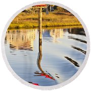 Topsail Sound Sunset Round Beach Towel by Betsy Knapp