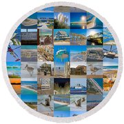 Topsail Visual Contemporary Quilt Series I Round Beach Towel