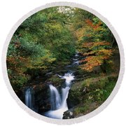Torc Waterfall, Ireland,co Kerry Round Beach Towel