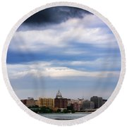 Tornado Over The Capitol Round Beach Towel