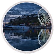Torquay Marina And The Big Wheel Round Beach Towel