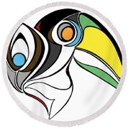 Toucan And Company On White Round Beach Towel