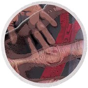 Touch And Red Zipper Round Beach Towel