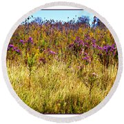 Touch Of Purple In October Round Beach Towel