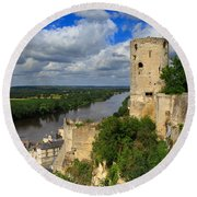 Tour Du Moulin And The Loire River Round Beach Towel