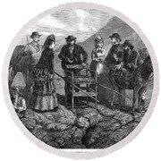 Tourists At Vesuvius, 1872 Round Beach Towel