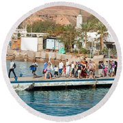 Tourists Waiting To Climb Onto Dive And Snorkeling Boats At Sharm El Sheikh Round Beach Towel