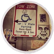 Tow Zone Collage Round Beach Towel