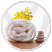 Towel Roll Round Beach Towel by Atiketta Sangasaeng