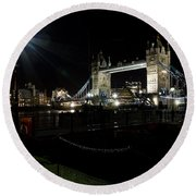 Tower Bridge And Riverside Night View  Round Beach Towel