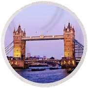 Tower Bridge In London At Dusk Round Beach Towel