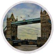 Tower Bridge London Round Beach Towel by Heather Applegate