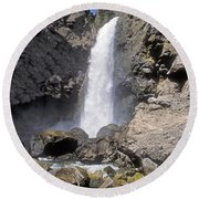 Tower Fall Of Yellowstone Round Beach Towel