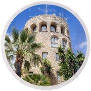 Tower In Puerto Banus Round Beach Towel