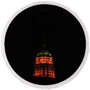Tower Life Building At Night Round Beach Towel