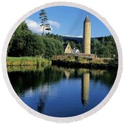 Tower Near A Lake, Round Tower, Ulster Round Beach Towel