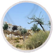 Tower Of Beitin - Biblical Bethel Round Beach Towel