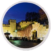 Tower Of London Walls At Night Round Beach Towel
