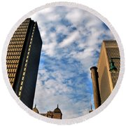 Towering Towers Round Beach Towel