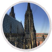Towers Of The Cathedral Round Beach Towel