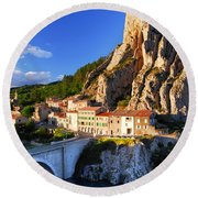 Town Of Sisteron In Provence France Round Beach Towel