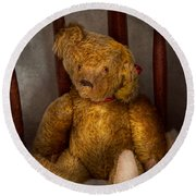 Toy - Teddy Bear - My Teddy Bear  Round Beach Towel by Mike Savad