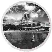 Toy Boating In A Parisian Park Bw Round Beach Towel
