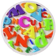Toy Letters Round Beach Towel