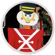 Toy Soldier Christmas In Virginia City Round Beach Towel