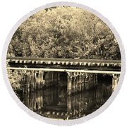 Track On The River In Sepia Round Beach Towel