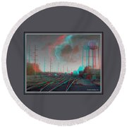 Tracking The Storm - Red-cyan Filtered 3d Glasses Required Round Beach Towel