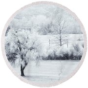 Tracks In The Frost Round Beach Towel