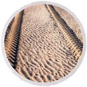 Tracks In The Sand Round Beach Towel