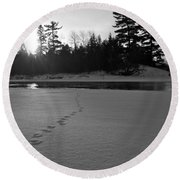 Tracks To The Water Round Beach Towel
