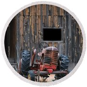 Tractor And The Barn Round Beach Towel