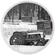 Tractor At The Mill  Round Beach Towel